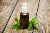 picture of mints  - Essential mint oil with fresh mint on a old wooden background - JPG
