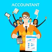Постер, плакат: Accountant People Group Team Show Calculator Finance