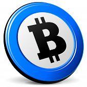 foto of bitcoin  - illustration of bitcoin 3d blue design icon - JPG