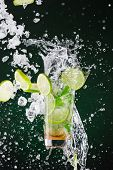 picture of freezing  - fresh mojito drink with liquid splash and drift - JPG