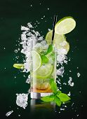 image of freezing  - fresh mojito drink with liquid splash and drift - JPG