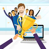 picture of prize winner  - Business Man Get Prize Winner Cup - JPG