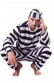 foto of inmate  - Prison inmate isolated on the white - JPG