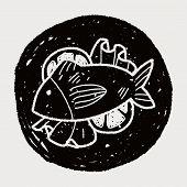 pic of plate fish food  - Fish Food Doodle - JPG