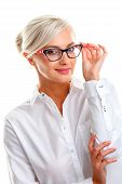 picture of shot glasses  - beautiful young woman in white glasses - JPG
