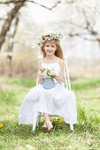 pic of orchard  - Beautiful girl in a flourishing orchard - JPG