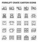 pic of crate  - Forklift carton and crate icons sets on white background - JPG