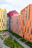image of colorful building  - Aerial view on colorful residential buildings - JPG