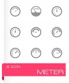 picture of electricity meter  - Vector meter icon set on grey background - JPG