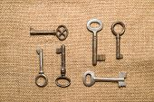 image of hasp  - A lot vintage keys to the safe on a old cloth - JPG