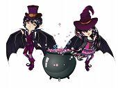 picture of manga  - Cute cartoon vampire boy and witch in anime manga style - JPG