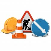 stock photo of road construction  - Road Construction Concept with helmet - JPG