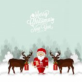 picture of snow-slide  - Night Landscape With Deers And Santa on the snow - JPG