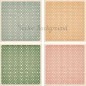 stock photo of dots  - Set of vector vintage dotted backgrounds with realistic cardboard paper effect framed templates for cards and stationery 4 colors - JPG
