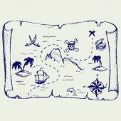 foto of treasure map  - Map of treasure island - JPG