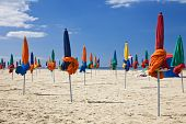 Colorful Parasols On Deauville Beach, Normandy, France, Europe poster