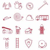 picture of fire brigade  - fire brigade symbols outline red icons set - JPG
