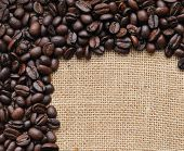 pic of coffee coffee plant  - Canvas and coffee beans  photo background - JPG