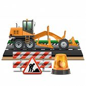 foto of road construction  - Road Construction Concept with road sign - JPG