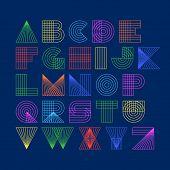 stock photo of alphabet  - Geometric shapes linear alphabet - JPG