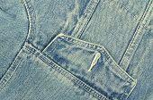 picture of tilt  - close up of a blue denim jacket with pocket - JPG