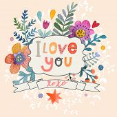 pic of romantic  - Sweetly pretty I love you card in vector - JPG