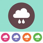 foto of rain clouds  - Vector rain cloud icon on round colorful buttons - JPG