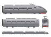 image of passenger train  - Grey Passenger train Isolated vector illustration - JPG