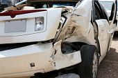 stock photo of ambulance car  - Three car wreck totaled this vehicle Two of the drivers were texting two vehicles readed other cars - JPG