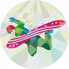 stock photo of snowboarding  - Low polygon style illustration of a snowboarder snowboarding spin jumping on snowboard set inside circle - JPG