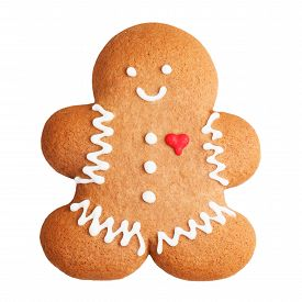 stock photo of gingerbread man  - Gingerbread man cookie isolated on a white background - JPG