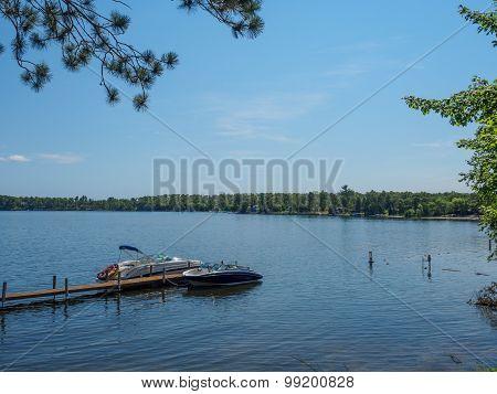 Boats On East Gull Lake In Minnesota