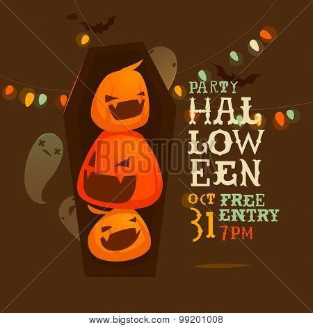 Halloween flyer with pumpkins and ghosts