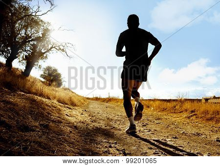 Silhouette Of Young Sport Man Running On Countryside In Cross Country Workout At Summer Sunset