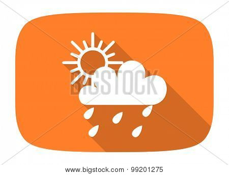 rain flat design modern icon with long shadow for web and mobile app