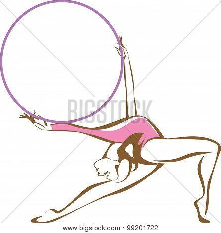 Rhytmic Gymnast With A Hoop