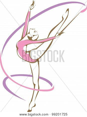 Rhymic Gymnast With A Ribbon