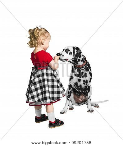 Little Girl And A Dog Dalmatian