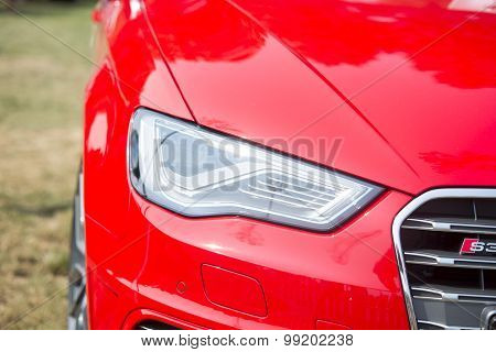 Sleza, Poland, August 15, 2015: Close Up On Audi Lights On  Motorclassic Show On August 15, 2015 In