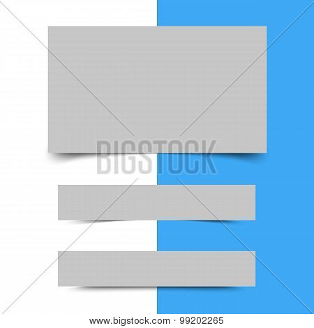 Banners with shadows. Paper shadows. Set of transparent realistic shadow effects. Set of Box Shadows