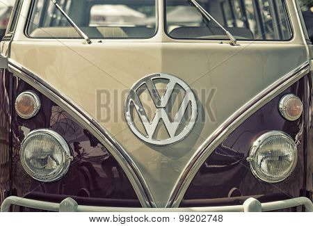 Sleza, Poland, August 15, 2015: Close Up On Volkswagen Old Vintage Car And Logo On  Motorclassic Sho