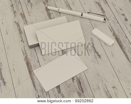 Business Cards Blank Mockup On Vintage Wood Background