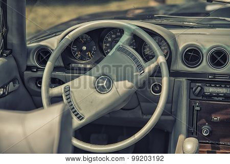 Sleza, Poland, August 15, 2015: Close Up On Old Vintage Mercedes Steering Wheel And Cockpit  Motorcl