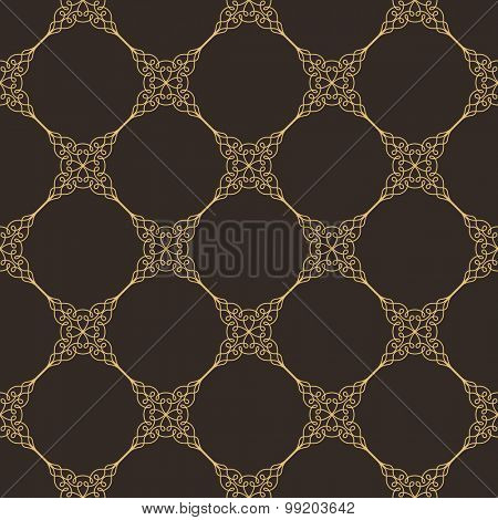 Seamless background in Arabic style. Gold patterns in dark wallpaper for textile design. Traditional oriental decor