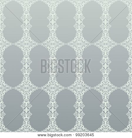 Seamless background in Arabic style. Gray wallpaper with patterns for mosque design. Traditional oriental decor