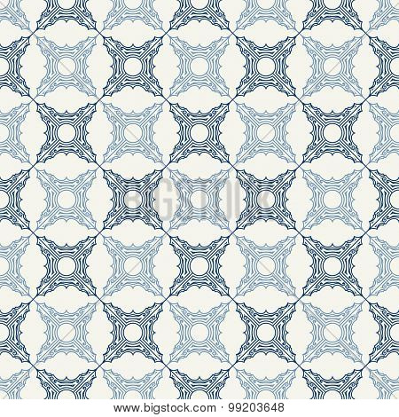 Seamless background in Arabic style. Blue tile patterns in white wallpaper for textile design. Traditional oriental decor