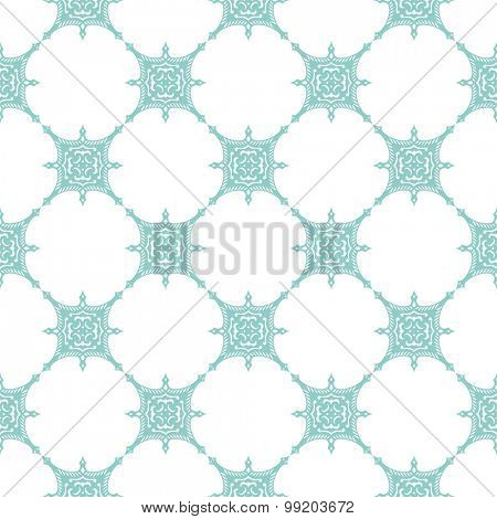 Seamless background in Arabic style. Blue green tile patterns in white wallpaper for textile design. Traditional oriental decor