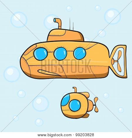 Vintage cartoon submarines. Vector illustration