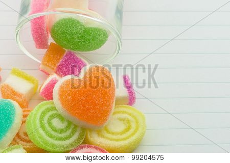 Sweet Jelly Candies And Jelly Hearts In Sweet Color.