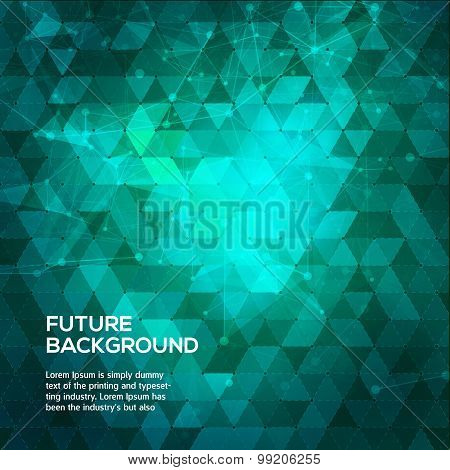 Abstract blue and green background with triangles. Abstract polygonal space low poly dark background